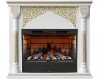 Каминный комплект Sultan 3D FOG 34 (дуб белый с золотом) с электрокамином с 3D эффектом живого пламени Alex Bauman 3D Fog 34 с пультом