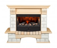 Каминный комплект Tango Premium Style 3D FOG 25 универсальный (ваниль) с электрокамином с 3D эффектом живого огня Alex Bauman 3D Fog