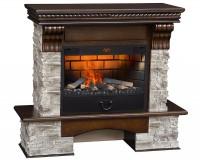 Каминный комплект Kingstone Grey 3D FOG 25 (грецкий орех) с электрокамином с 3D эффектом живого огня Alex Bauman 3D Fog 25 (без обогрева)