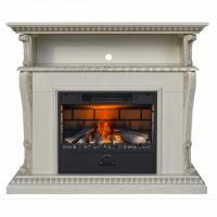 Каминный комплект Corifa 3D FOG 24 (дуб белый с золотом) с электрокамином с 3D эффектом живого огня Alex Bauman 3D Fog 24 с пультом