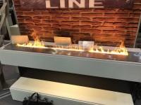 Электрокамин - линия огня Line-S 160 3D Chrome RealFlame с реалистичным эффектом живого огня 3D и пультом ДУ