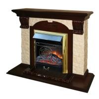 Каминный комплект: Портал Бостон Арочный Керамика Песчаник с электрокамином Olimpus (Mercury) BR золото