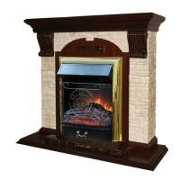 Каминный комплект: Портал Бостон Арочный Керамика Грот однотонный с электрокамином Olimpus (Mercury) BR золото