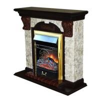 Каминный комплект: Портал Бостон Арочный Арбат с электрокамином Olimpus (Mercury) BR золото
