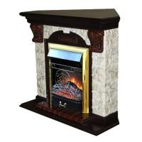 Каминный комплект: Портал Бостон Арочный Арбат угловой с электрокамином Olimpus (Mercury) BR золото