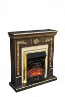 Каминный комплект Onegin Std (венге с матовым золотом) с электрокамином Alex Bauman Majestic Brass