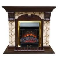 Каминный комплект: Портал Бостон Арочный Карелия с электрокамином Olimpus (Mercury) BR золото